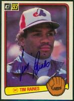 Original Autograph of Tim Raines HOF of the Montreal Expos on a 1983 Donruss