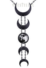 Restyle Lunar Black Necklace Jewelry Moon Occult Goth Punk Crescent Pendant