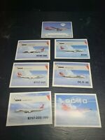 Set of 7 Northwest Airlines Airplane Trading Cards no doubles