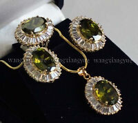 201914K GP Inlay Peridot Earrings/Ring/ Necklace Pendant Fashion Jewelry Set AAA