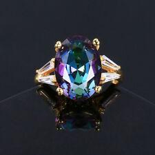 925 Silver 10 * 14 MM Oval Mystic Rainbow Topaz Gemstone Birthstone Ring Sz 7
