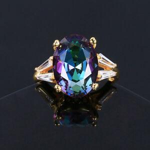 925 Silver 10*14 MM Oval Mystic Rainbow Topaz Gemstone Birthstone Ring Size 6-10
