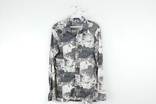 Vintage 70s Mens Small Boat Print Long Sleeve Button Front Disco Shirt Gray