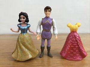 * DISNEY PRINCESS MAGICLIP SNOW WHITE & Prince Charming Doll & Dresses Mattel *