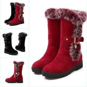 2020 New Women's Wedge Heel Round Toe Mid Calf Nightboots Winter Snow Boots Size