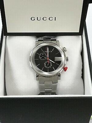 Gucci G Chronograph YA101361 Black Dial Stainless Men's Quartz Watch WARRANTY