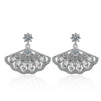 Ladies Charm 925 Sterling Silver Baguette Zircon Hand Fan Stud Dangle Earrings