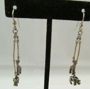 Vintage 925 Sterling Silver Giraffe & Elephant Dangle Hook Earrings