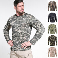 ESDY Combat T-shirt Men Long Sleeve Camouflage Army Tactical Military Casual Tee