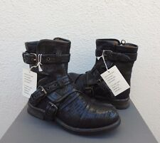 UGG COLLECTION ELISABETA WEAVE BLACK LEATHER/ SHEARLING BOOTS, US 6/ EUR 37 ~NIB