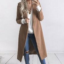 2016 New Women Winter Wool Lapel Long Coat Trench Parka Jacket Overcoat Outwear