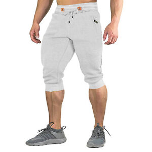 Mens 3/4 Cotton Capri Pants Joggers Gym Workout Running Casual Below Knee Shorts