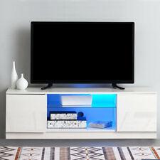 120cm Modern Matt White & High Gloss Door TV Unit Stand Cabinet Blue LED Light