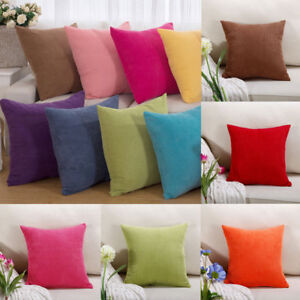 Corduroy Cushion Cover Square Sofa Pillow Case Soft Living Room Winter Bedroom