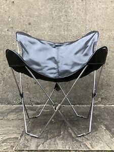 Mid 20th Century Black Butterfly Chair -  Chromed Steel Frame  BFK / Sling Chair