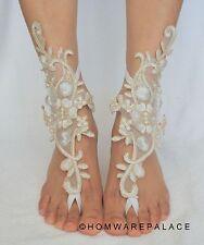 Ivory Bridal Lace Barefoot Sandals Beach Wedding Summer Sandles