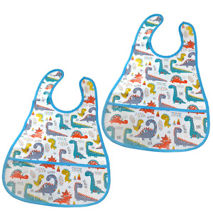2 Pack Dinosaur Bib Baby Boy Child Toddler Mealtime Art Craft Pocket Wipe Clean