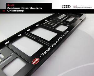 Kennzeichenhalter Audi Set 2 Stück, Vorsprung durch Technik, schwarz, Set