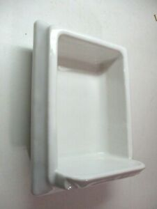 Art Deco 1920s Porcelain Mud Set White Recessed Tumbler Glass Holder Antique