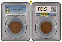 1932 AUSTRALIA HALF PENNY ALMOST UNCIRCULATED PCGS AU55 COIN IN HIGH GRADE