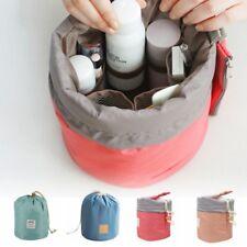 US Nylon Barrel Shap Drawstring Cosmetic Organizer Bag Travel Makeup Storage Bag