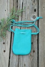 Turquoise leather drawstring pouch , Drawstring leather pouch , Medicine bag