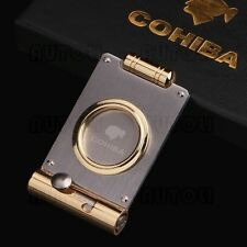 COHIBA Stainless Steel Guillotine Cigar Punch Cutter two-in-one New Boxed