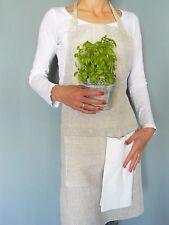 linen apron, full linen apron, pure flax linen fabric, long french linen apron