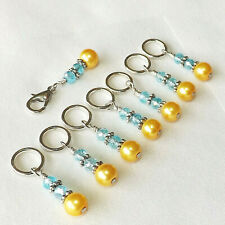 KNITTING  ACCESSORIES. STITCH MARKERS, SET OF 8 HANDMADE BEADED  #121a