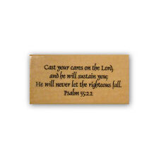 Cast your Cares, mounted rubber stamp, Christian bible verse, Psalm 55:22 CM3