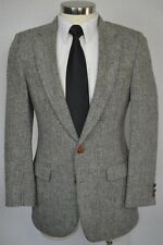 (38R) Vintage Harris Tweed Men's Gray Herringbone Wool Blazer Sport Coat Jacket
