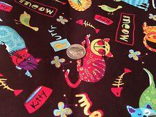 Kitty Cats Bones on Brown Purr CAT Novelty Quilt Fabric Fat Quarter FQ FQs
