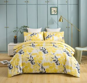 Tache Watercolor Floral Light Yellow Blue Flowers Reversible Print Duvet Cover