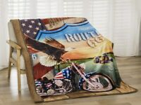 New Route 66 Sherpa Plush Throw Gift Blanket Eagle Motorcycle US Flag Shield NIP