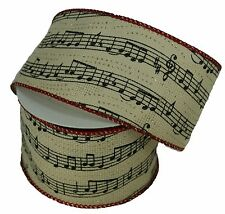 "2.5"" IVORY Fabric Musical Notes WIRED Ribbon with Red Trim 10 Yards"