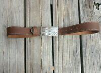 Justin Top Grain Cowhide USA Made Western American Flag Brown Leather Belt 34