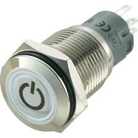 PULSANTE D=16mm CON RING LED BLU 12V ACCIAIO INOX