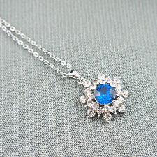 14k white Gold plated Elsa blue pendant necklace with Swarovski elements