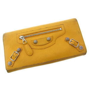 Balenciaga Wallet Purse Long Wallet Yellow Silver Woman Authentic Used F858