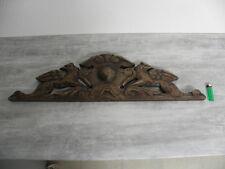 antique Crest/Pediment/Crown CARVED WOOD ARCHITECTURAL FURNITURE PANEL MANTEL