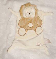 Doudou velours lion bruissant camel & écru Tiamo Collection (25x15cm)