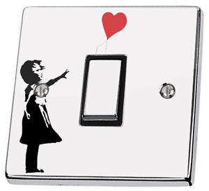 Banksy Girl Red Heart Balloon Graffiti Light Switch & Power Socket Vinyl Sticker