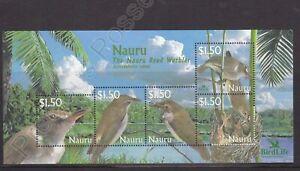 NAURU MNH STAMP SHEET 2003 BIRDLIFE INTERNATIONAL NIGHTINGALE SG MS582