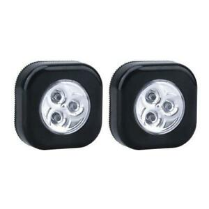 2 Pack Ultra LED Puck Lights AAA Batteries Included Self Adhesive ON/OFF Tap