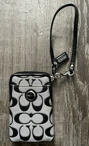 EUC COACH Signature logo Black Jacquard Cell Phone Wristlet Wallet Leather Trim