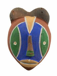 Masque Passeport Africain en Terre Cuite Masquette Tribale rituel ethnique 7206