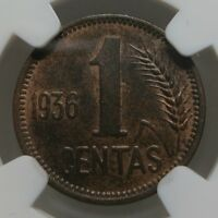 LITHUANIA 1 centas 1936 NGC MS 62 BN UNC