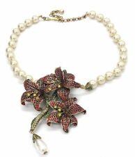 NEW Heidi Daus Alluring Amaryllis Flower Simulated Pearl Swarovski Drop Necklace