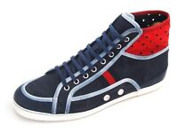 776a3ece9cf Gucci High Top Sneakers Blue Red Leather Canvas Mens Shoe size US9.5EU42.5
