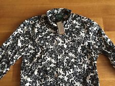 Gitman Bros Vintage NEW Black White Floral 100% Cotton Shirt S Small $185 NWT